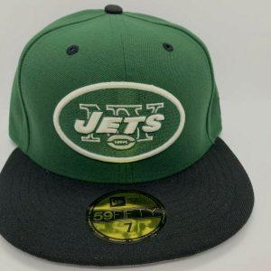 NEW ERA 5950 GREEN JETS NY MEN FITTED HATS